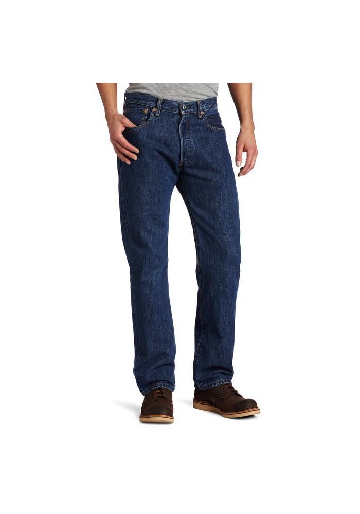 Levi's 501 Original Button Fly Dark Stonewashed Blue Jeans ...