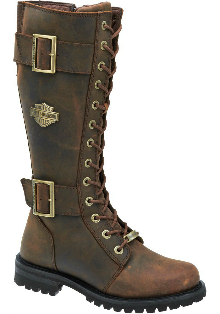 Harley Davidson Women Boots Belhaven Motorcycle Aged Bark Brown D87083
